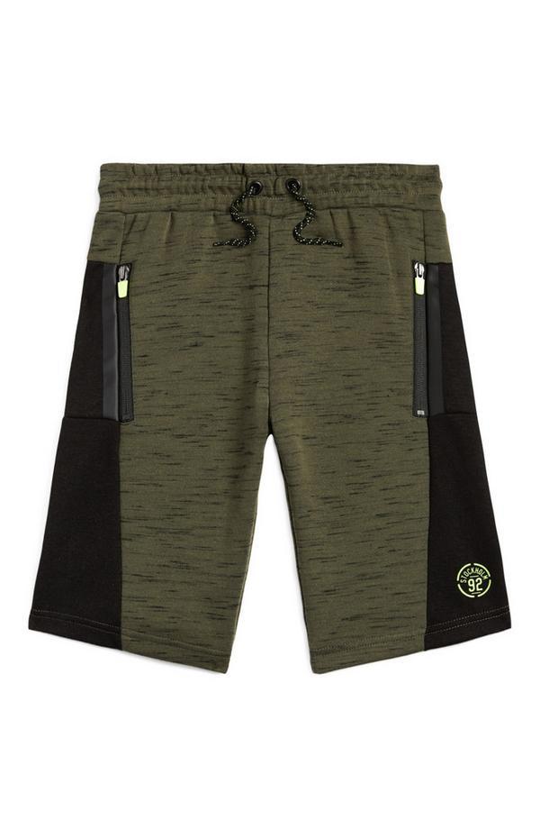 Older Boy Olive Zip Pocket Shorts