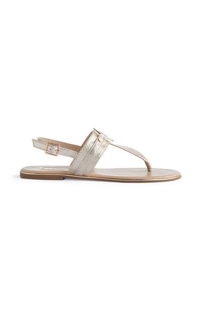 Gold Metal Circle Thong Sandals