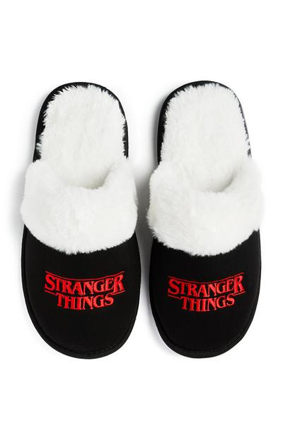 Black And Red Stranger Things Slippers