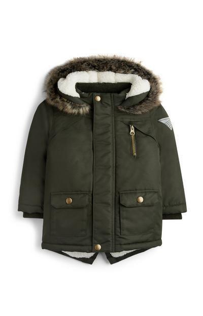 Baby Boy Faux Fur Lined Khaki Parka Jacket
