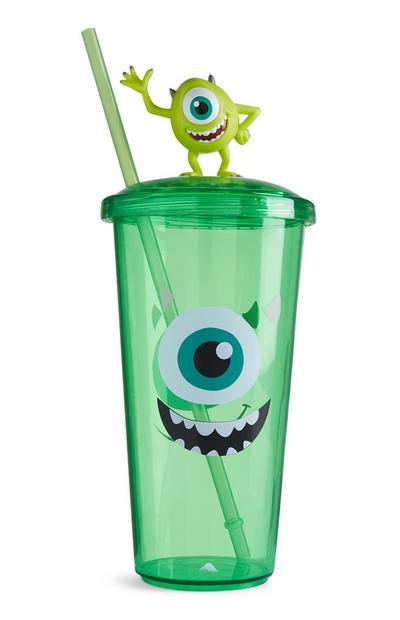Bicchiere verde con cannuccia Mike Monsters & Co.