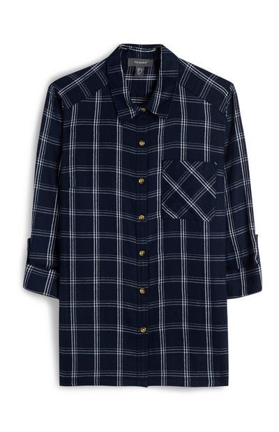 Mornarsko modra karirasta srajca z gumbi
