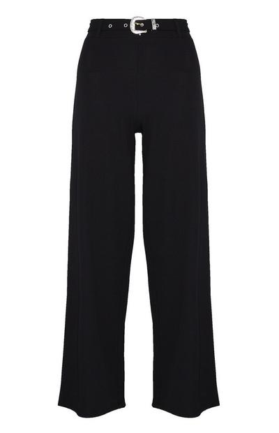 Črne hlače s širokimi hlačnicami in pasom