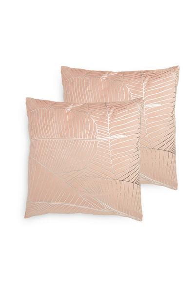 Pack 2 almofadas estampado geométrico veludo cor-de-rosa