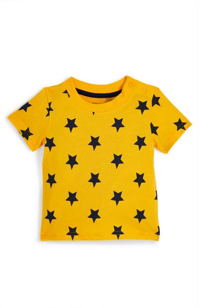 Geel babyshirt met sterren, jongens