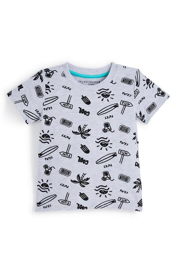 """Graues T-Shirt mit """"Fun""""-Print für Babys (J)"""