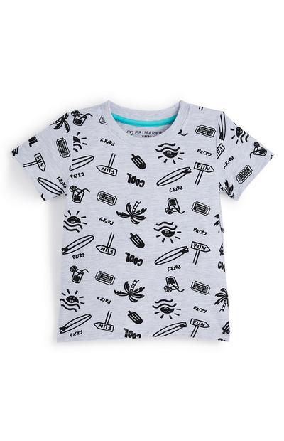 Grijs babyshirt met leuke print, jongens