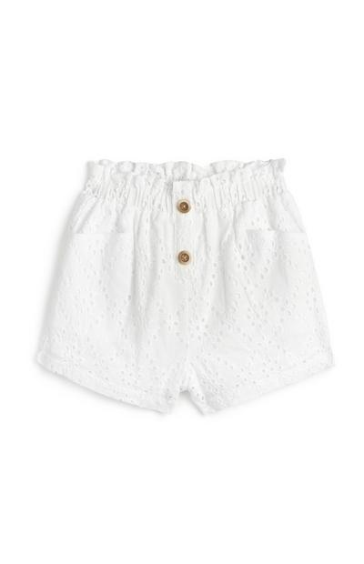 Older Girl White Eyelet Shorts
