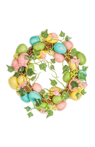 Grinalda folhas ovos de Páscoa