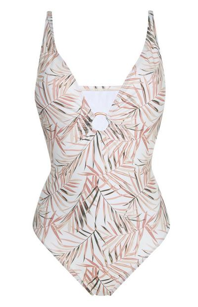 White And Pink Leaf Print Ring Swimsuit