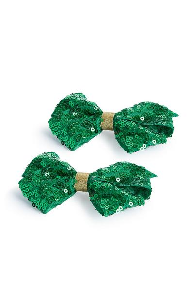 Green St Patricks Day Sequin Hair Bows