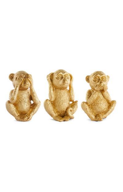 Macacos decorativos dourado