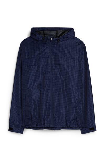 Black Mini Square Print Hoodie Jacket