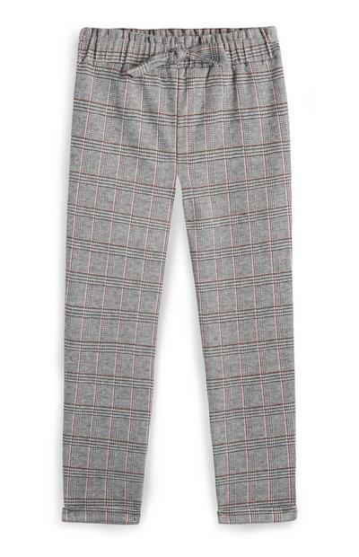 Pantalon gris et rose à carreaux fille