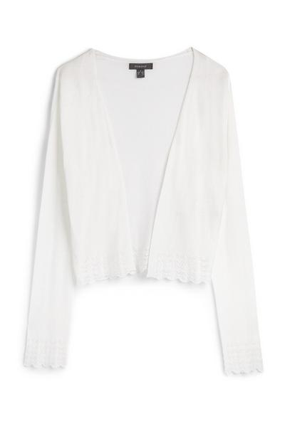 White Long Sleeve Lace Hem Cardigan
