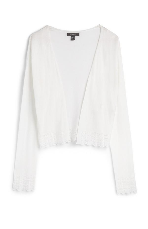 White Long Sleeve Lace Hem Cardigan