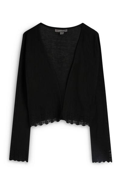 Black Long Sleeve Lace Hem Cardigan