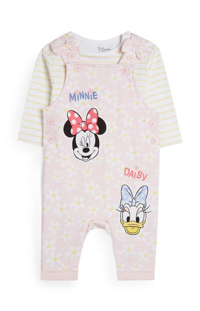 Yellow And Pink Minnie Mouse And Daisy Duck Overall Set