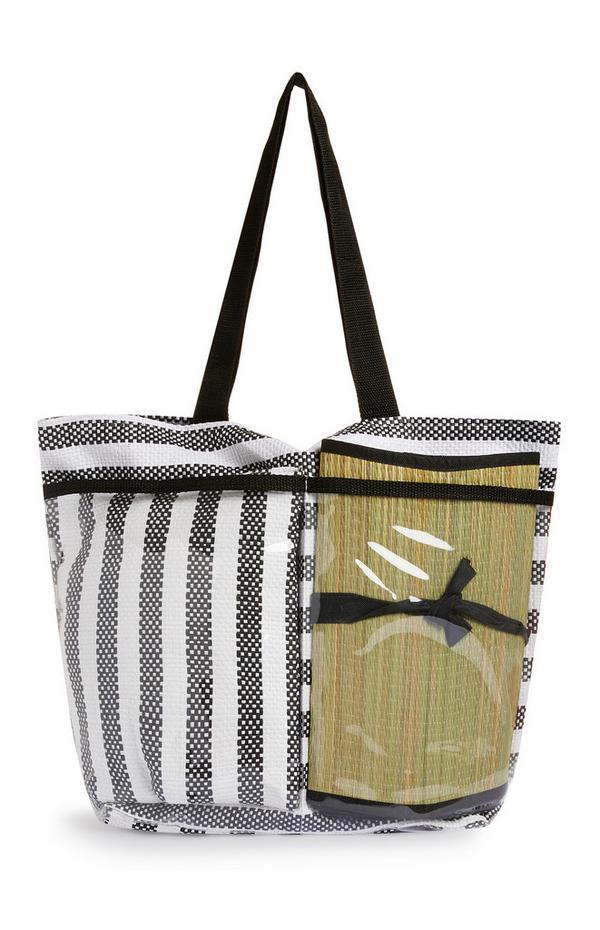 Grau-weiß gestreifte, transparente Strandtasche