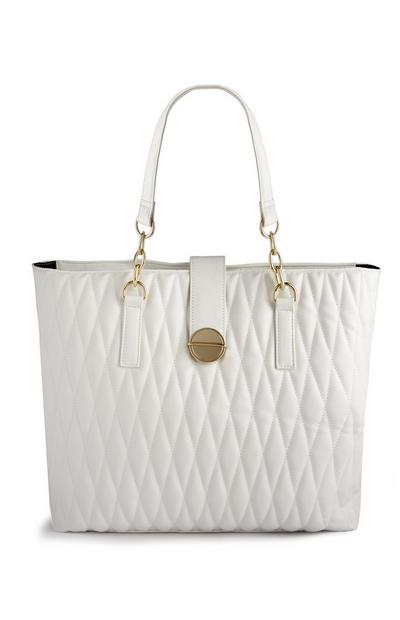 White Quilted Shopper