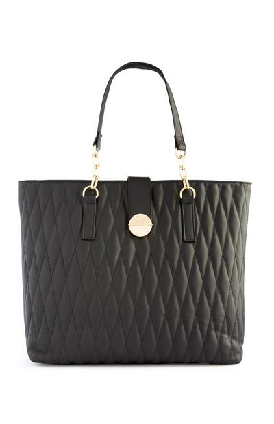 Black Quilted Shopper