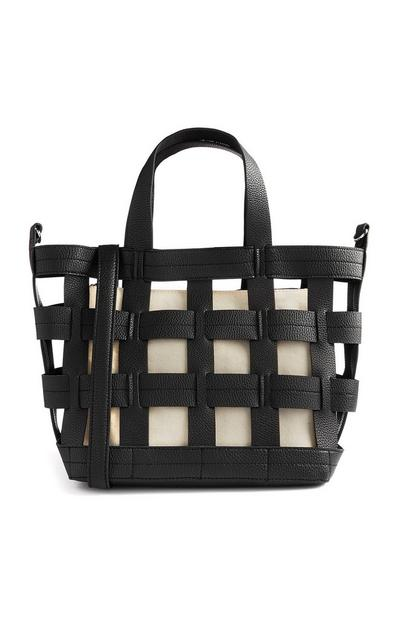 Black Cut Out Woven Tote Bag