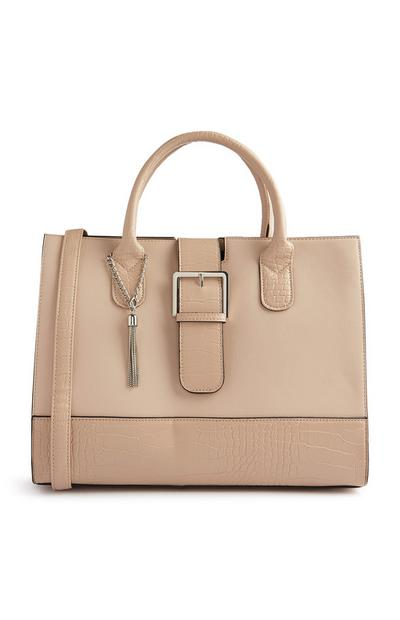 Beige Structured Tote Bag With Buckle