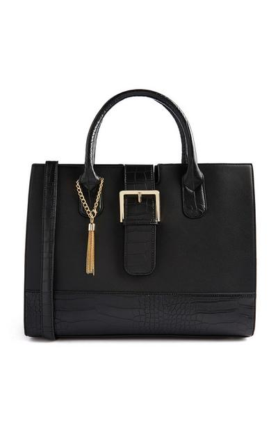 Black Structured Tote Bag With Buckle