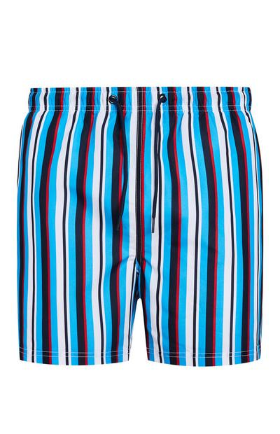 Blue Vertical Striped Shorts