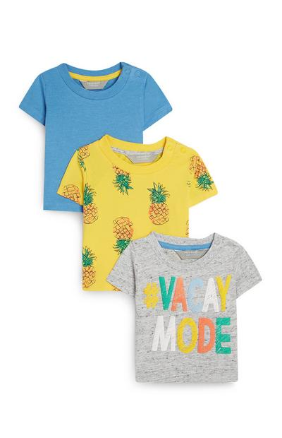 3-Pack Baby Boy Blue And Yellow Summer T-Shirts