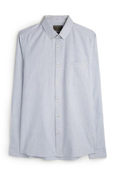 Blue Vertical Striped Long Sleeve Oxford Shirt
