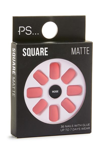 Square Matte Rose Stick On Nails