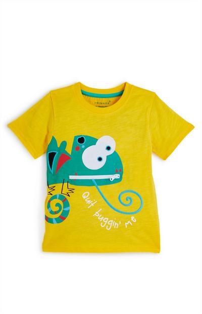 Geel baby-T-shirt met kameleon voor jongens