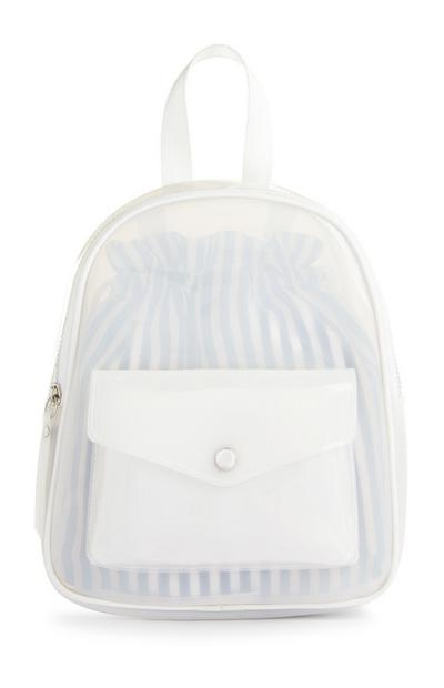 White Clear Backpack With Front Pouch