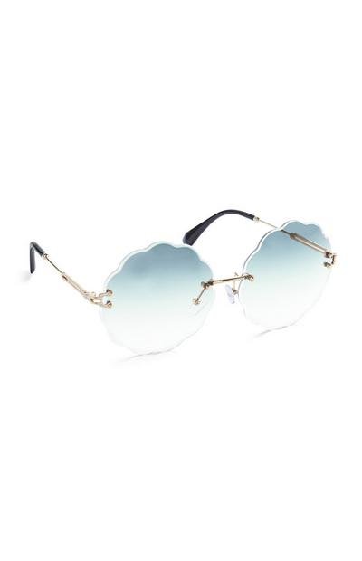 Blue Scalloped Edge Round Sunglasses