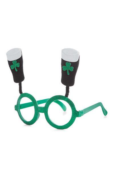 Green St Patricks Day Novelty Glasses