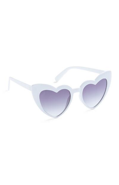 White Heart Shaped Glasses