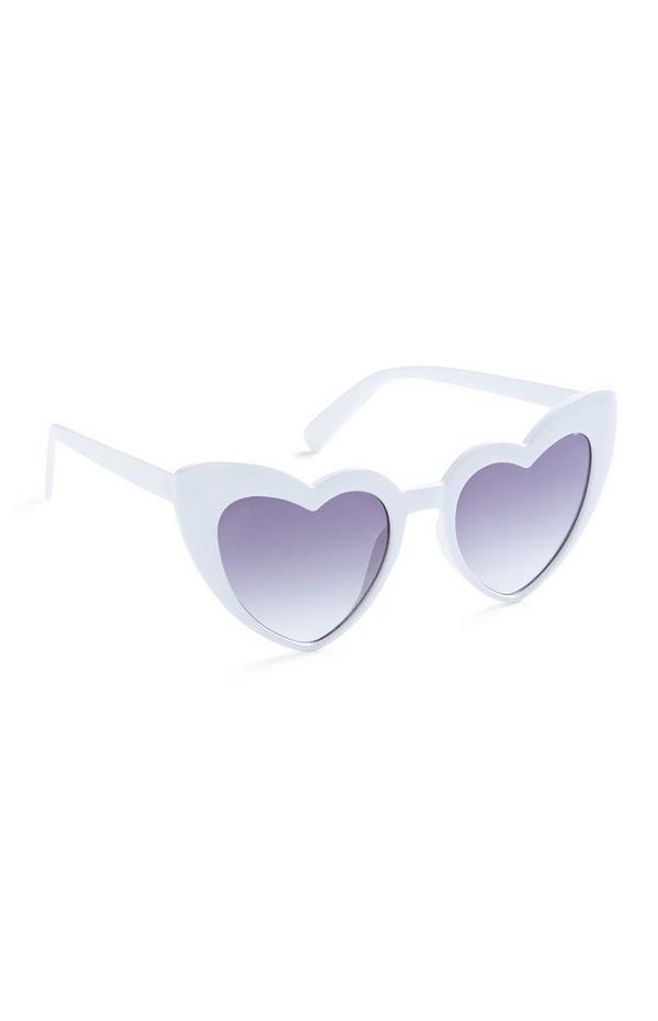 White Heart Shaped Glasses