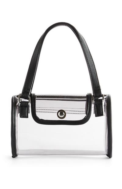 Black Trim Clear Handbag