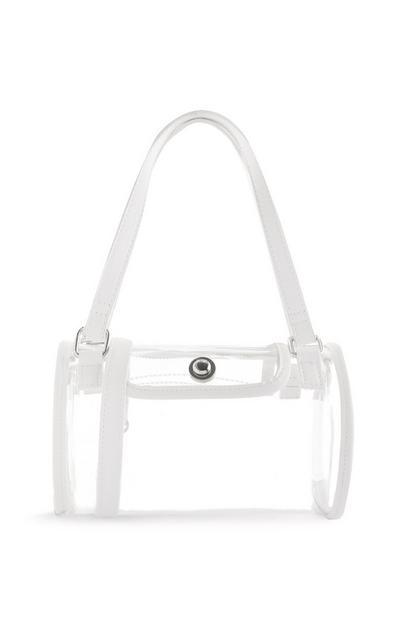 White Rim Clear Bowler Bag
