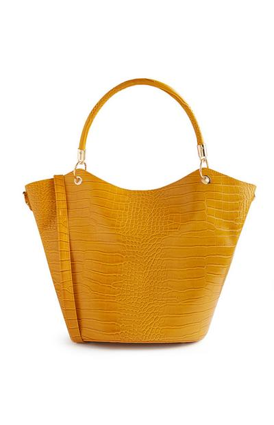 Yellow Mixed Print Curved Tote Bag