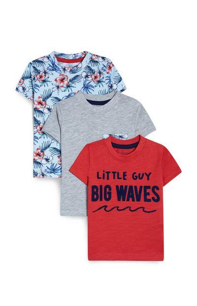 Rode, grijze en blauwe T-shirts met strandthema, set van 3