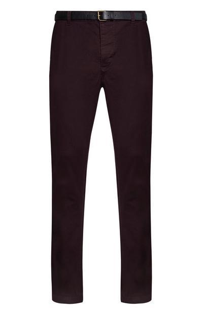 Pantalón chino burdeos con cinturón