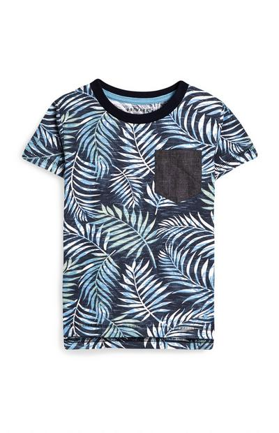 Baby Boy Navy Leaf Print T-Shirt