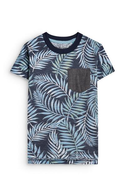 Blauw babyshirt met bladerprint voor jongens