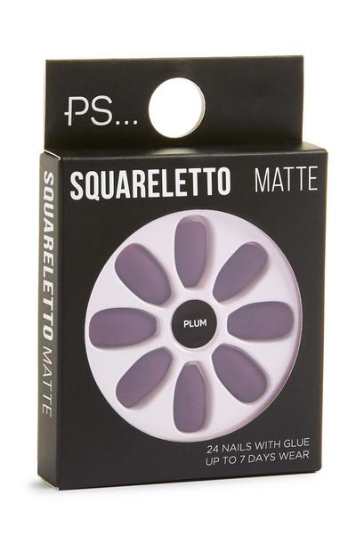 Squareletto Plum Matte Faux Nails