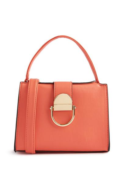 Orange Cross Body Top Handle Bag