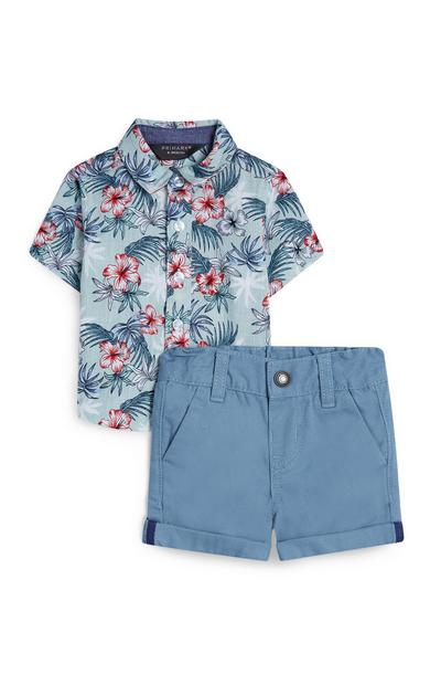 Baby Boy Blue Floral Beach Shirt And Shorts Set