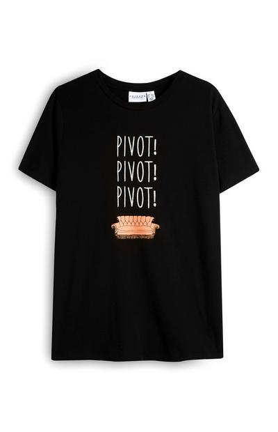 Black Pivot Friends Slogan T-Shirt