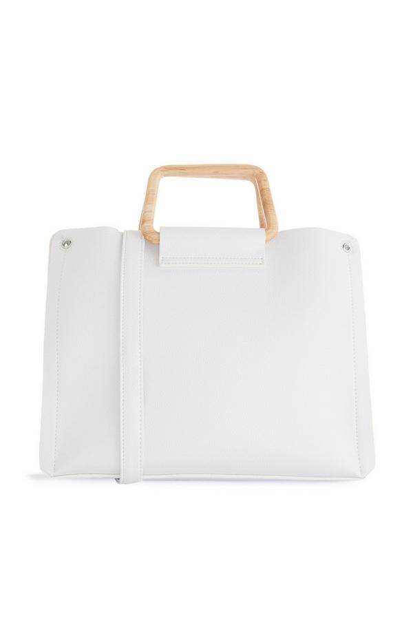 Weiße Handtasche mit quadratischem Holzgriff